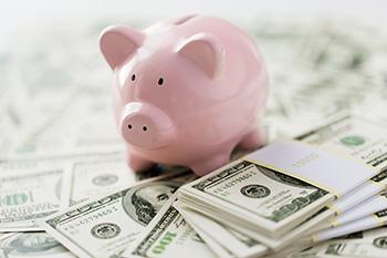 Sparschwein und Geldscheine - Auslandspraktikum finanzieren